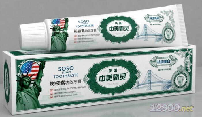 美国中美霸灵牙膏-去渍美白