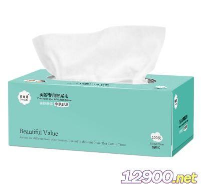 俊丽妮美容专用棉柔巾100抽(平纹)